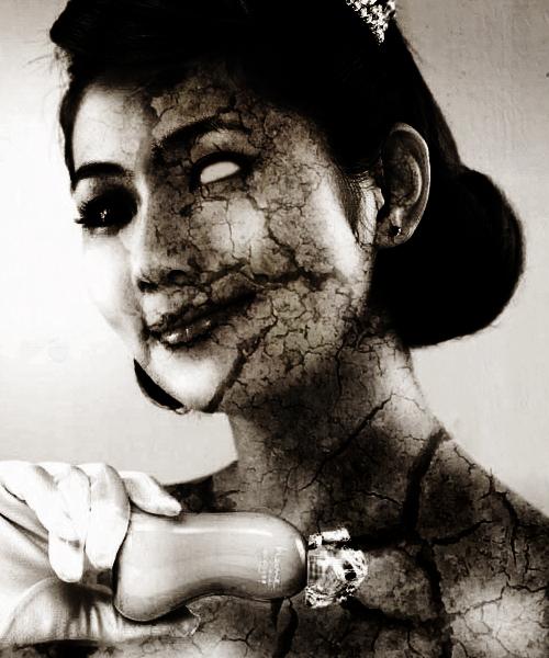 ترسناک زن گرافیکی دختر سیاه سفید فتوشاپ نقاشی اثر هنری