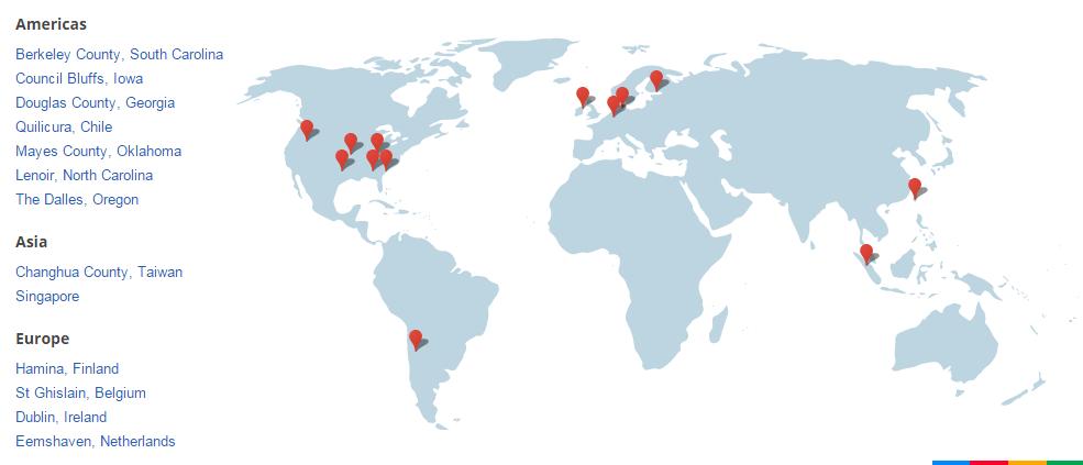 سرور های گوگل نقشه جهان