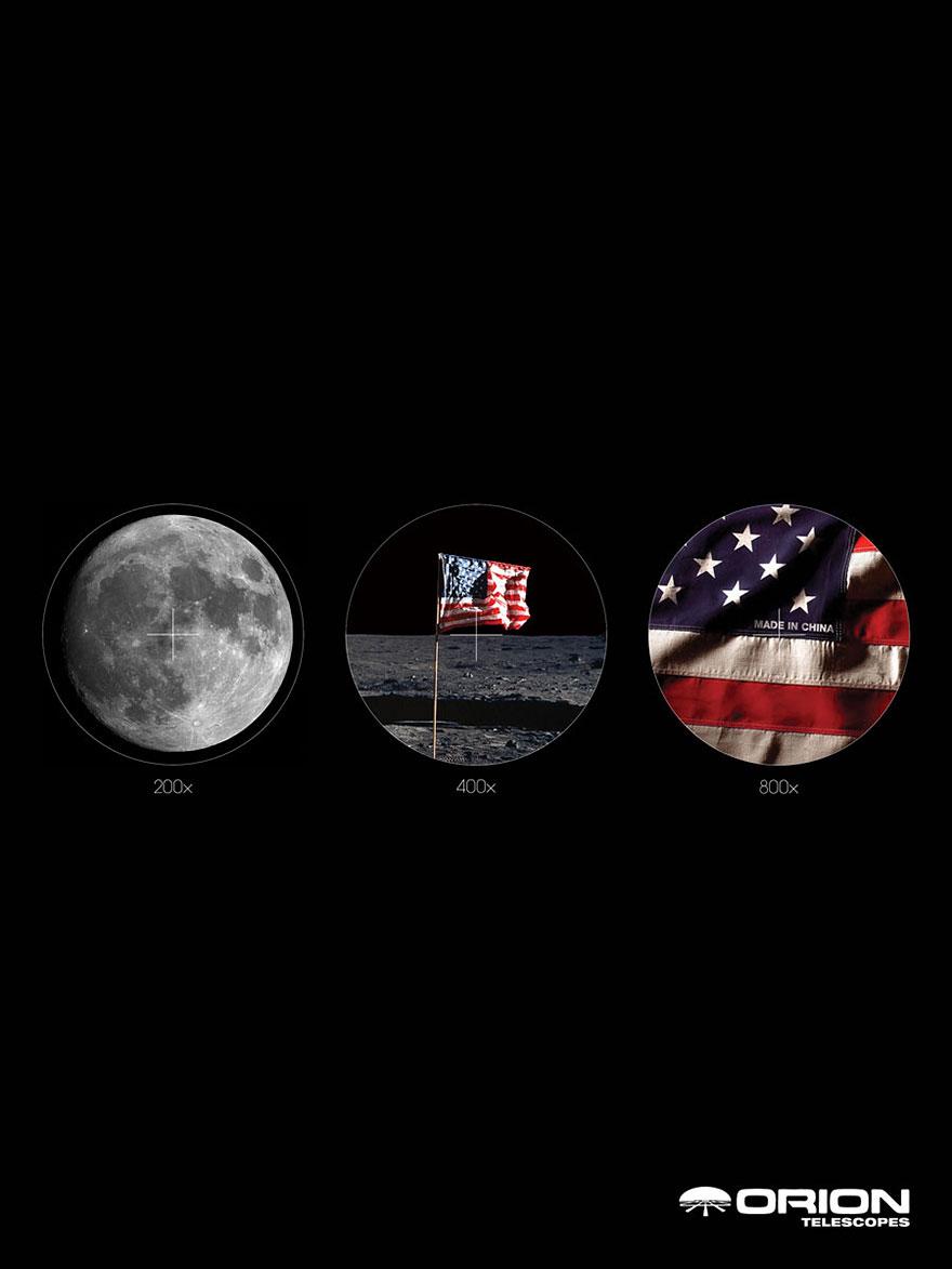 تلسکوپ تبلیغ تبلیغات فضا پرچم امریکا ماه چین