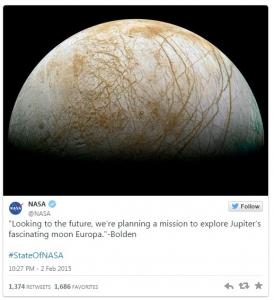 توئیت ناسا ماموریت اروپا